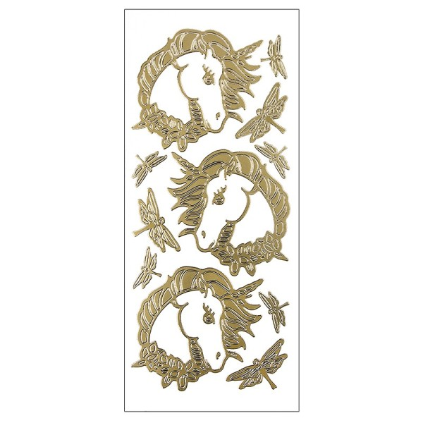 Sticker, Einhörner & Libellen, Perlmuttfolie, gold