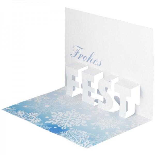 """Pop-Up-Grußkarten-Einleger, 11 x 16 cm, """"Frohes Fest"""", Schneeflocken"""