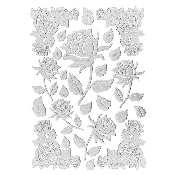 3-D Sticker, Deluxe Rosen 2, selbstklebend, silber