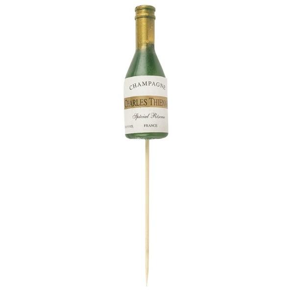 Champagnerflasche, mit Holzstab, Flasche: 9,5cm, 20,5cm (inkl. Holzstab)
