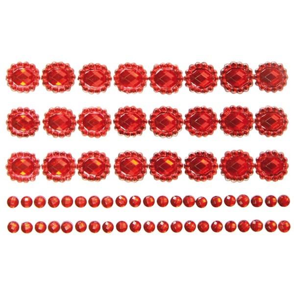 Ornament-Glitzerstein-Bordüren, selbstklebend, Design 2, rot