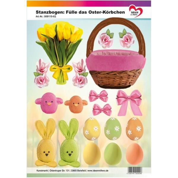 Stanzbogen, Fülle das Oster-Körbchen, DIN A4, rosa