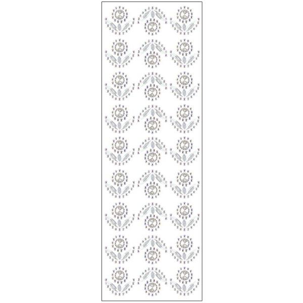 Kristallkunst, Blumen-Ornament 3, 10cm x 30cm, selbstklebend, klar irisierend