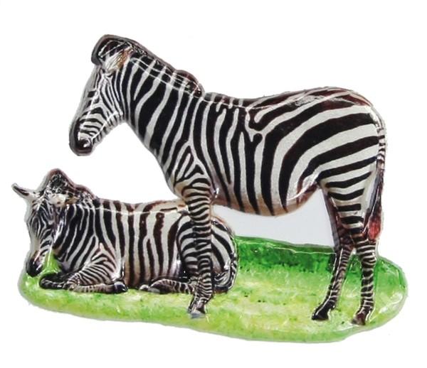 Wachsornament Zebras, farbig, geprägt, 5,5 x 7,5 cm