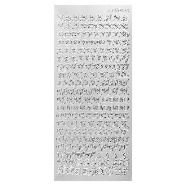Sticker, Alphabet 1 Großbuchstaben, Spiegelfolie silber