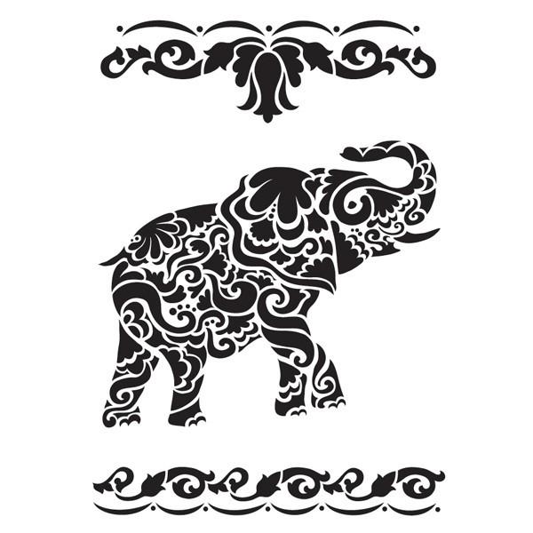 Laser-Kunststoff-Schablone, DIN A4, selbstklebend, Elefant