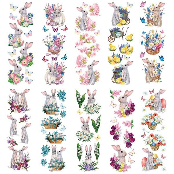 Transparent-Stickerbogen, Niedliche Hasen, verschiedene Designs, 10cm x 30cm, 10 Bogen