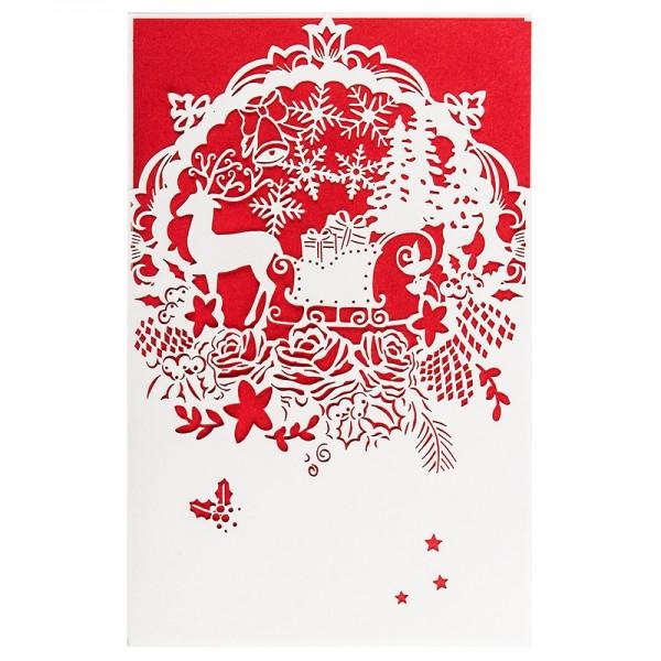 """Laser-Grußkarte """"Weihnachten 3"""", 12x18cm, mit Einleger & Umschlag"""