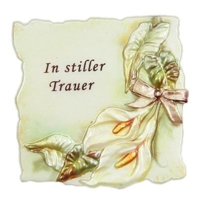 """Wachsornament Trauer, """"In stiller Trauer"""", 7x7cm"""