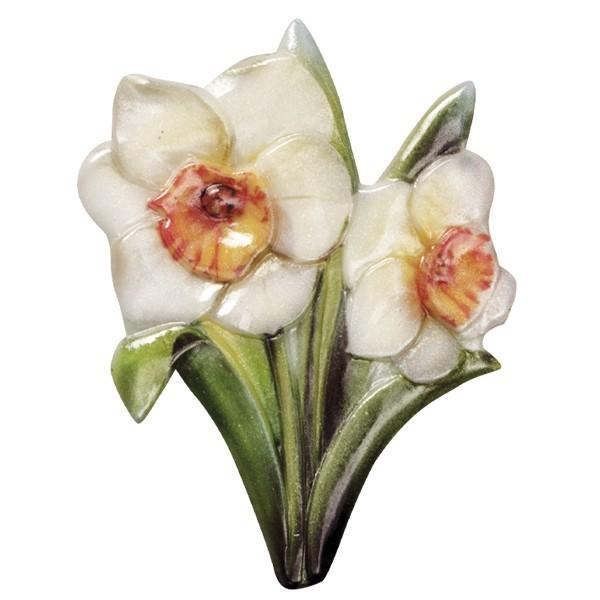 Wachsornament Blütezeit 2, farbig, geprägt, 8cm