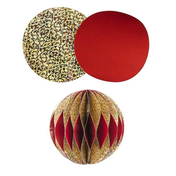 Waben-Stanzteile, Kugel, holografie-gold/dunkelrot, Ø 8cm, 100 Stück