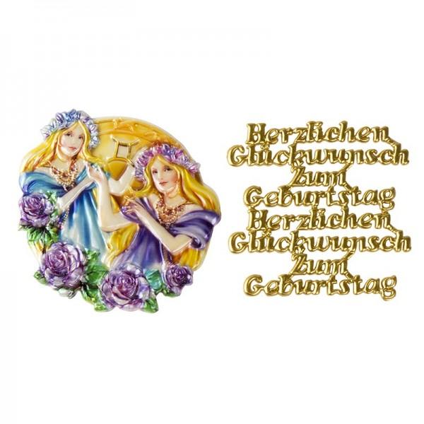 Wachsornamente, Sternzeichen Zwillinge & Herzlichen Glückwunsch, 2 Stück