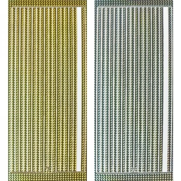 Sticker, Linien, 5mm, gold & silber, Laserzauberfolie, 10 Bogen
