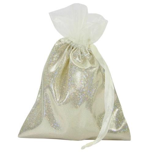 Schmuckbeutel mit Glitzer-Effekt, Satin, 10 x 13 cm, champagner