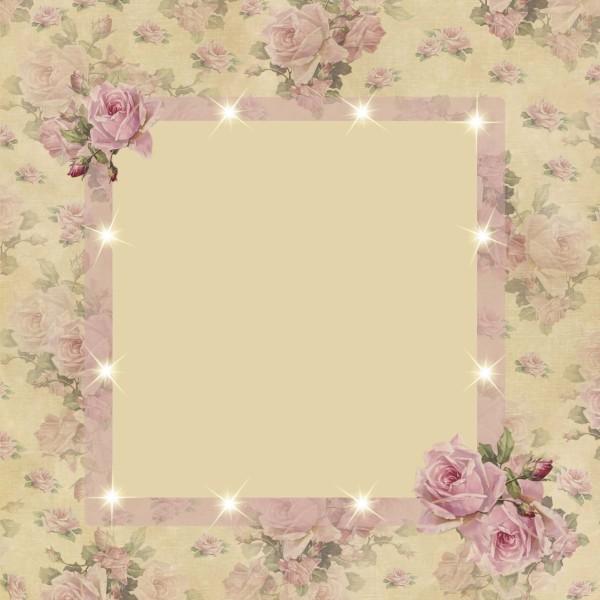 Lichteffekt-Grußkarte Rosenpassepartout I, 16 x 16 cm