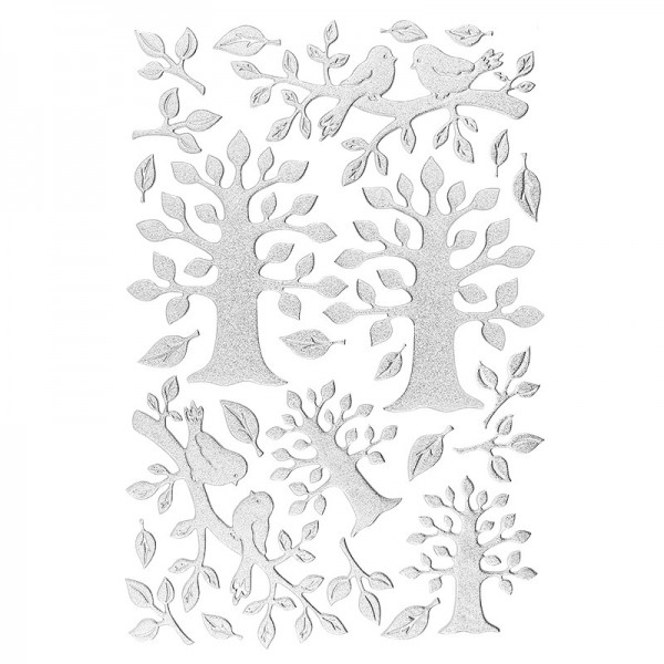 3-D Sticker, Deluxe Bäume, selbstklebend, silber