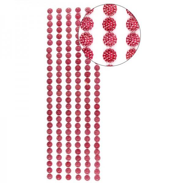 Halbperlen-Bordüren, Perlenblüte, 10cm x 30cm, selbstklebend, rot