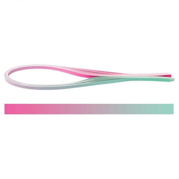 Quilling-Papierstreifen, Farbverlauf, 3 Größen (5mm, 7mm, 10mm), 54cm lang, pink/türkis, 150 Stück