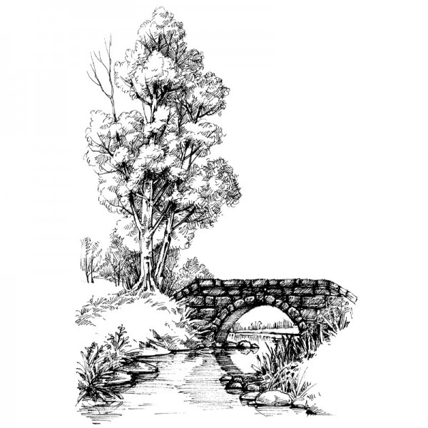 Feinkontur-Stempel, 10 x 15cm, Brücke im Wald