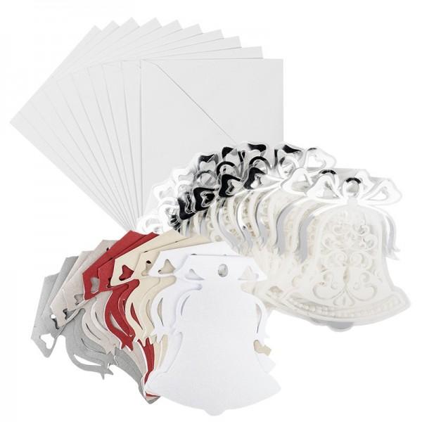 Kristallfolien-Grußkarten, Glocke, 12,5 x 13,5cm, Einleger versch. Farben, Umschläge, 10 Stück