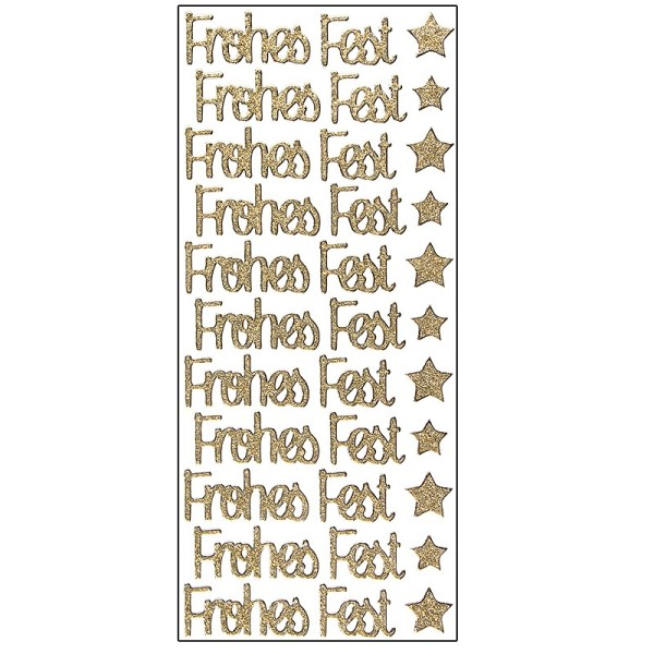 Microglitter-Sticker, Frohes Fest, gold