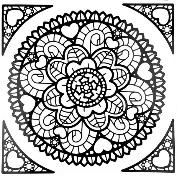 Mandala-Sticker, Design 5, 23cm x 20cm, schwarz