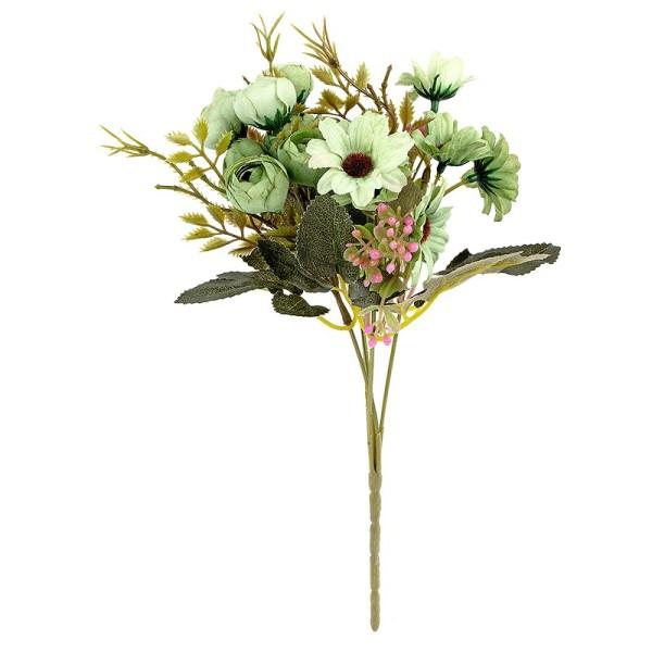 Blütenbusch, Rosen & Margeriten, 28cm hoch, 15 großen Blüten Ø 2,5cm, Grüntöne