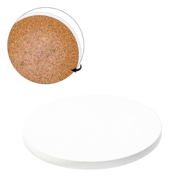 Keramik-Fliese, Untersetzer, rund, Ø 9cm, weiß, unbehandelt