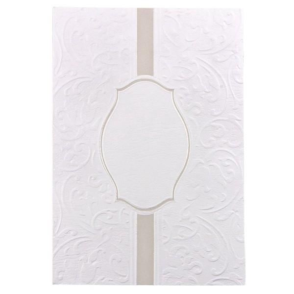 Exquisit-Grußkarten mit Top-Prägung, B6, 10 Stück, weiß mit Plakettenornament