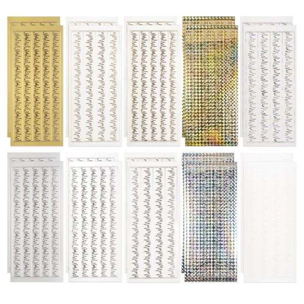 Sticker, Eiszapfen-Bordüren, 2 Designs, 10 verschieden Farben, 20 Bogen