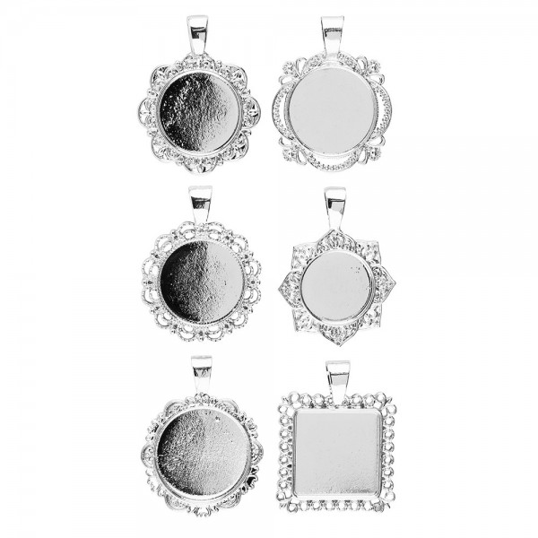 Schmuckanhänger, Rohlinge, Design 2, versch. Designs & Größen, silber, 6 Stück