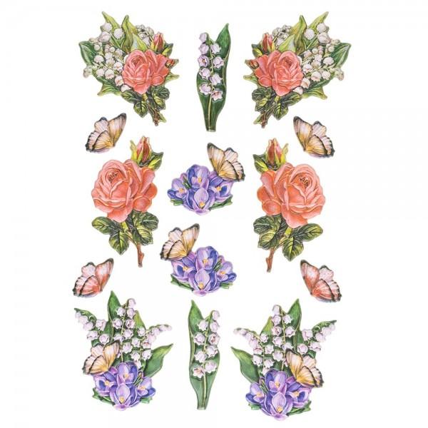 3-D Relief-Sticker, Zauberhafte Maiglöckchen 2, 21cm x 30cm, verschiedene Größen, selbstklebend