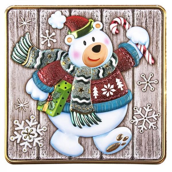 Relief-Sticker, Eisbär auf Holzpaneelen, Holz-& Metallic-Optik, 18cm x 17,5cm