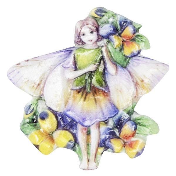 Wachsornament Elfen mit Blüten 4, farbig, geprägt, 6,5-7cm