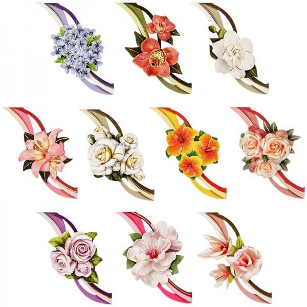 3-D Motive, Blumen mit Schwung, 8,5-10,5cm, 10 Motive