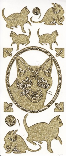 Microglitter-Sticker, Katze, gold