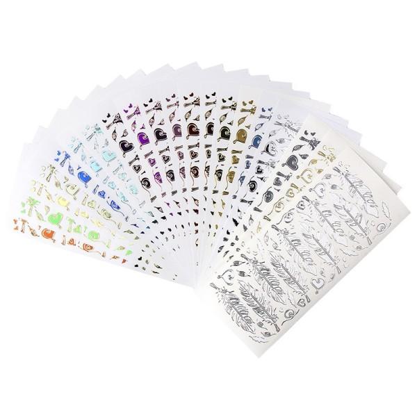 Sticker, Federn, verschiedene Farben & Folien, 20 Bogen