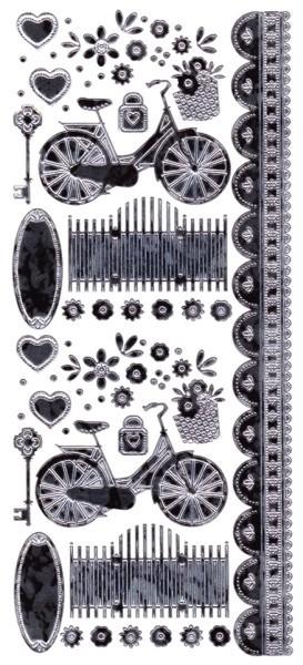 """Sticker, """"Marie Eve Bikes"""", Camouflagefolie, silber/schwarz"""