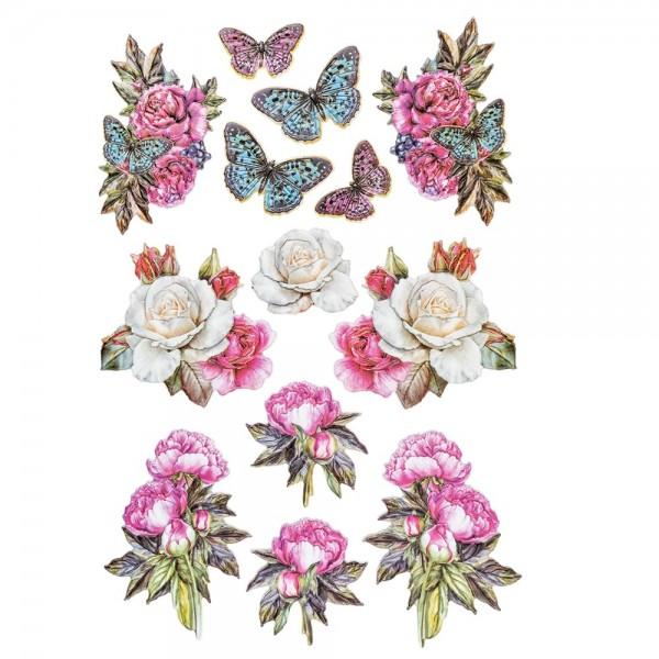 3-D Relief-Sticker, Blumen & Vasen 3, verschiedene Größen, selbstklebend