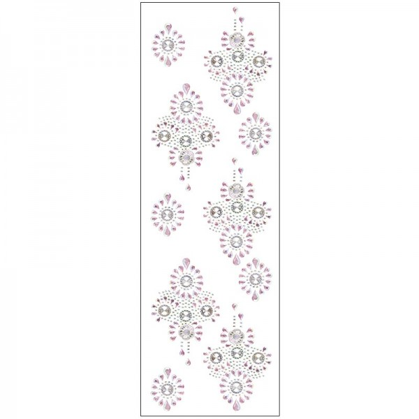 Kristallkunst, Broschen-Ornament, 10cm x 30cm, selbstklebend, klar irisierend, rosa irisierend
