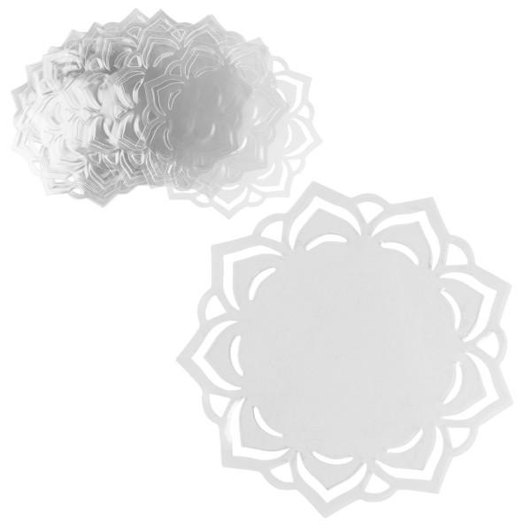 Windradfolien-Scheiben, mit Stanzornamentik, Blume, Ø 16cm, 500µ, transparent, 20 Stück