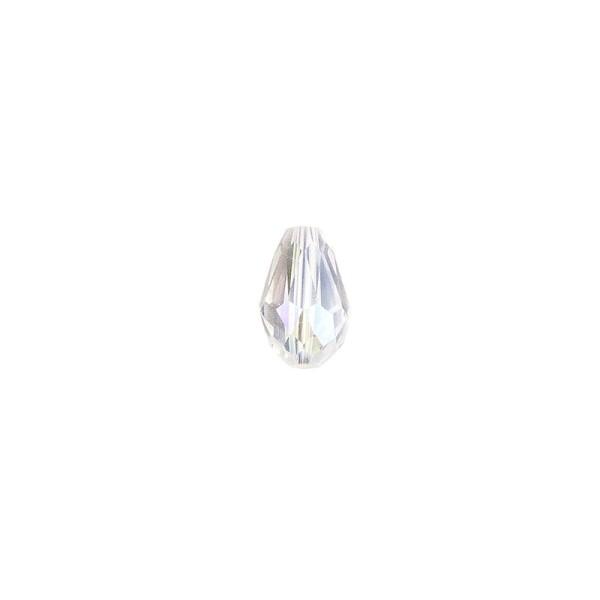 Perlen, Tropfen, facettiert, 0,6cm x 0,8cm, transparent-irisierend, 30 Stück