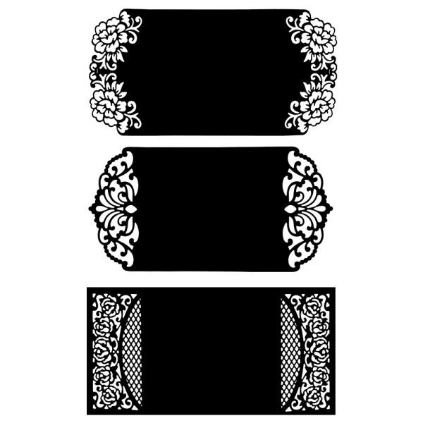 Stanzschablonen, Klappkarten, 19cm x 9,4cm, 3 Stück