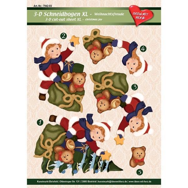 3-D Bogen XL-Weihnachtsfreude, zum Ausschneiden