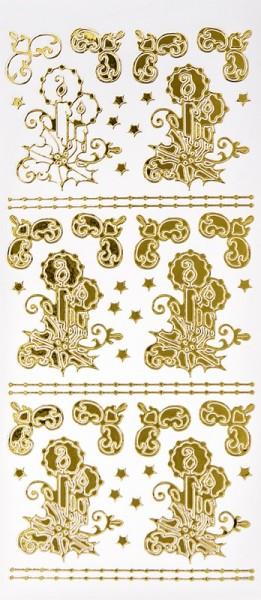 Sticker, Kerzen mit Ilex & Ecken, Spiegelfolie, gold