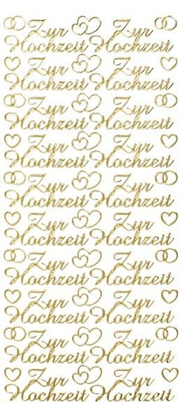 Sticker, Schrift, Zur Hochzeit, gold