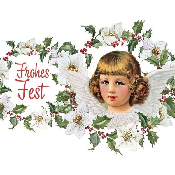 Zauberfolien, Engel & Frohes Fest, Schrumpffolie für Ø 9cm, 25cm hoch, 2 Stück