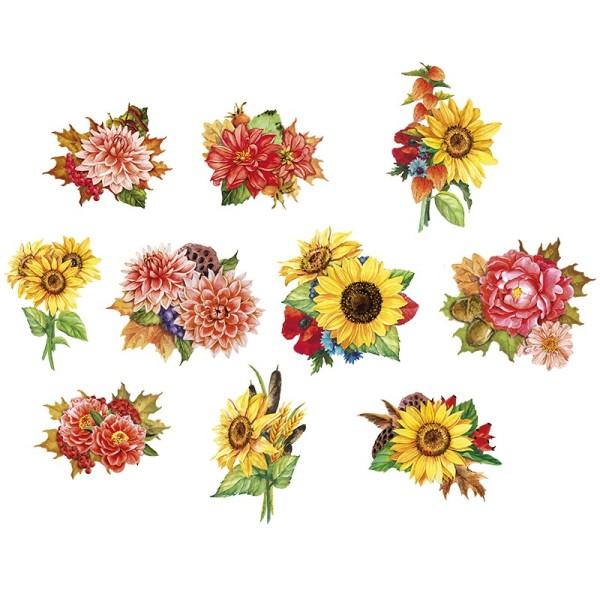 3-D Motive, Herbstblumen, 6-9,5cm, 10 Motive