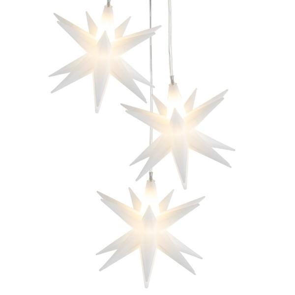3-D LED-Sterne-Trio, je Ø 10cm, mit je 16 Strahlen, weiß, 3 LED-Lämpchen in Warmweiß, inkl. Timer