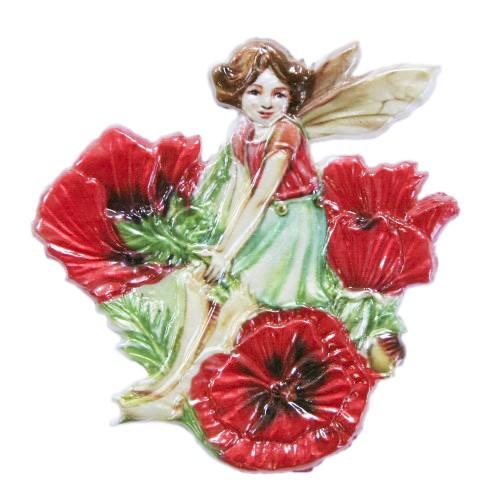Wachsornament Elfe 7, farbig, geprägt, 7 x 7 cm
